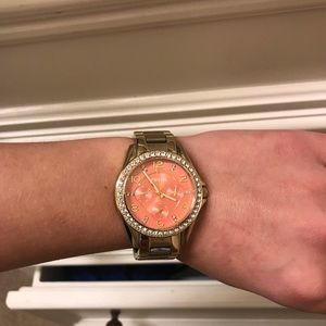 Jewelry - Fossil gold with peach face watch